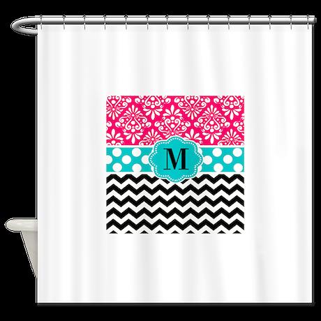 Pink Teal Chevron Monogram Shower Curtain By Cupcakesandsprinklesbirthdaytees