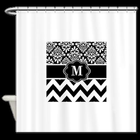 Black White Damask Chevron Monogram Shower Curtain By CupcakesandSprinklesBir