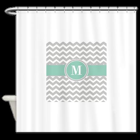 Gray Mint Chevron Monogram Shower Curtain By