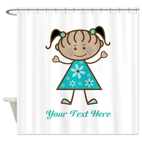 Teal Stick Figure Ethnic Girl Shower Curtain By 1512boulevard