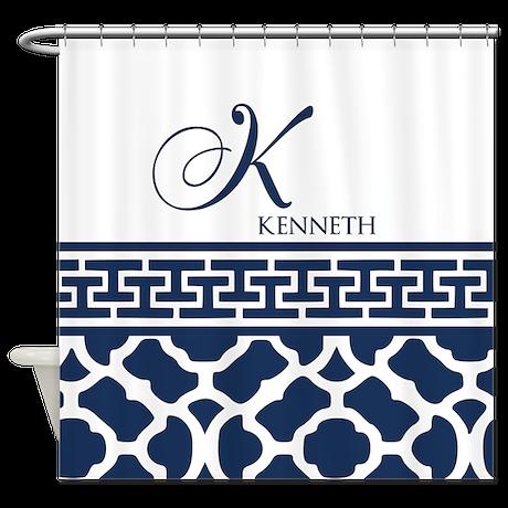 Navy blue quatrefoil pattern shower curtain by customgifts123 for Quatrefoil bathroom decor