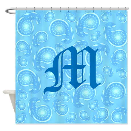 Blue Paisley And Custom Monogram Shower Curtain By Metarla5