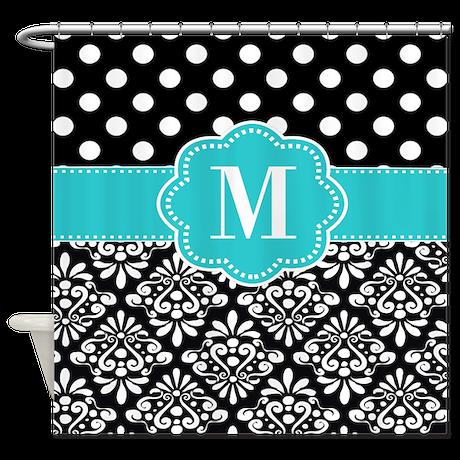 Teal Black Damask Dots Personalized Shower Curtain By Cupcakesandsprinklesbirthdaytees