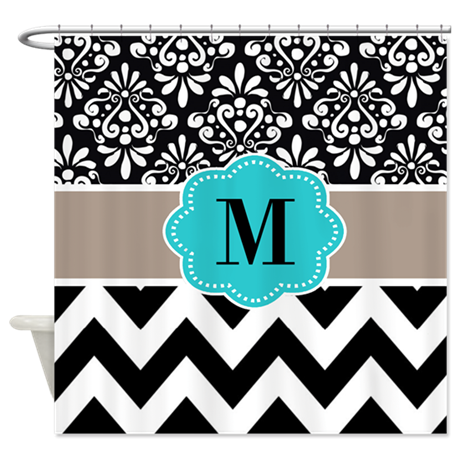 Black Teal Tan Chevron Monogram Shower Curtain By