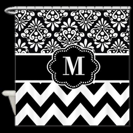 Black White Damask Chevron Monogram Shower Curtain by