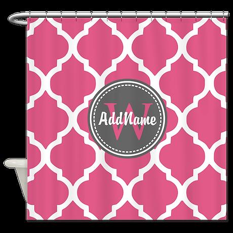 Monogrammed pink grey quatrefoil shower curtain by for Quatrefoil bathroom decor
