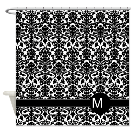 damask pattern monogram Shower Curtain by MarshEnterprises