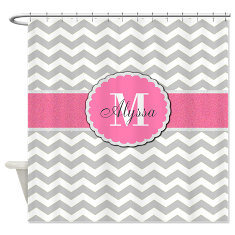 Shower curtains fabric shower curtains bathroom shower for Pink grey bathroom accessories