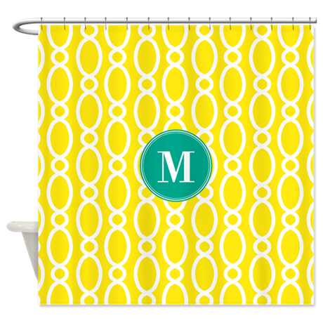 Vine pattern monogram turquoise yellow shower curt by - Yellow and turquoise bathroom ...
