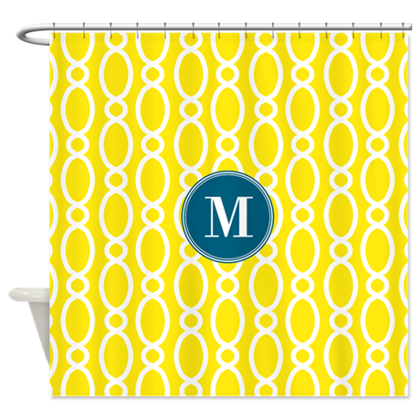 Vine Pattern Monogram Yellow Teal Shower Curtain By