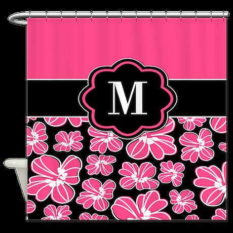 Pink Black Floral Monogram Shower Curtain By CupcakesandSprinklesBirthdayTees
