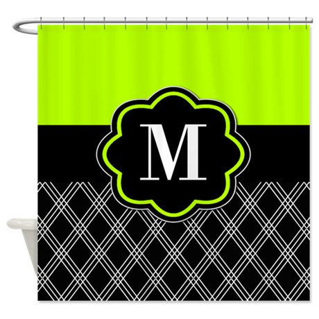 Lime green black monogram shower curtain by for Black and green bathroom accessories