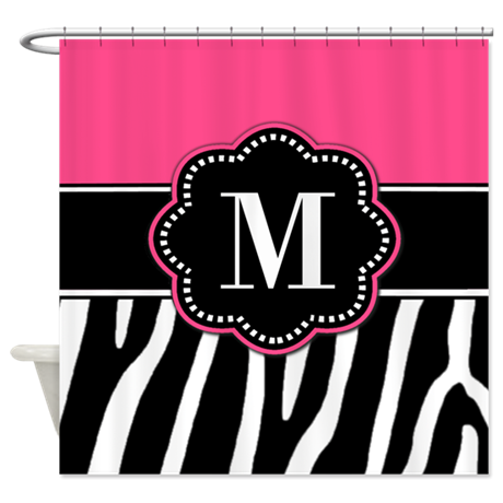 Zebra Print Pink Monogram Shower Curtain by ...