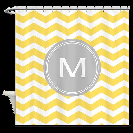 Yellow Chevron Monogram Shower Curtain By Admin Cp49789583
