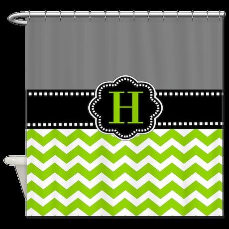 Gray Green Monogram Shower Curtain By CupcakesandSprinklesBirthdayTees
