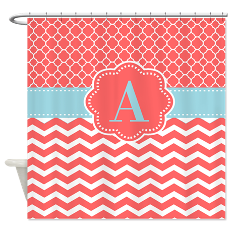 Coral Blue Chevron Monogram Shower Curtain By CupcakesandSprinklesBirthdayTees