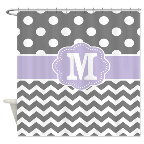 bathroom d cor gray purple dots chevron monogram shower curtain