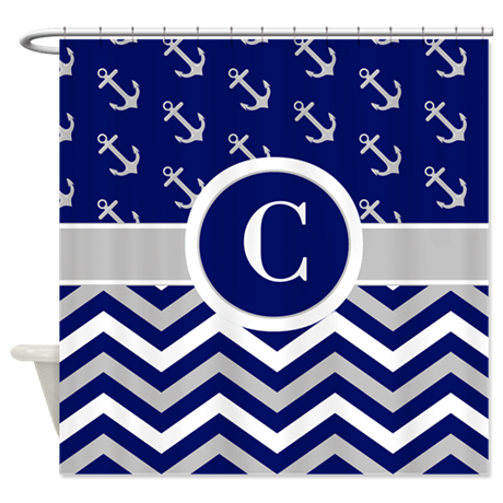 Navy Gray Chevron Anchors Monogram Shower Curtain By CupcakesandSprinklesBirt