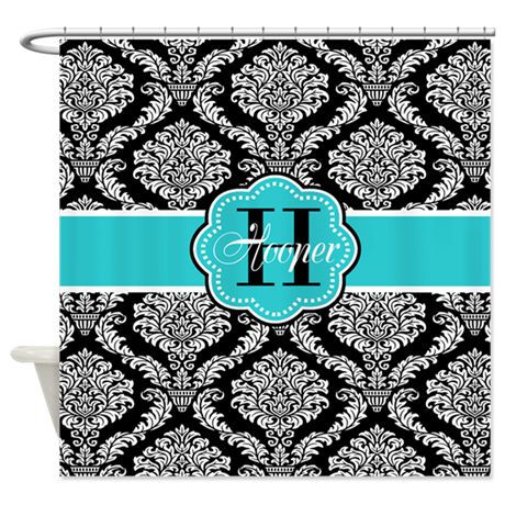 Teal And Black Shower Curtain Teal Colored Shower Curtain