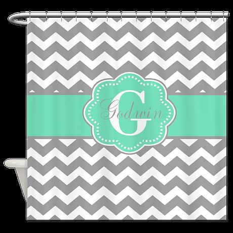 Gray Mint Green Chevron Monogram Shower Curtain By