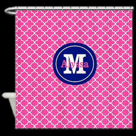 Pink navy quatrefoil personalized shower curtain for Quatrefoil bathroom decor