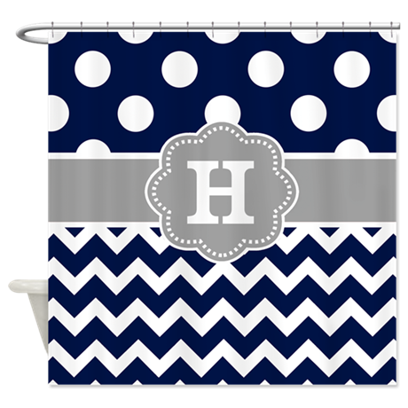 Navy Gray Dots Chevron Monogram Shower Curtain By CupcakesandSprinklesBirthda