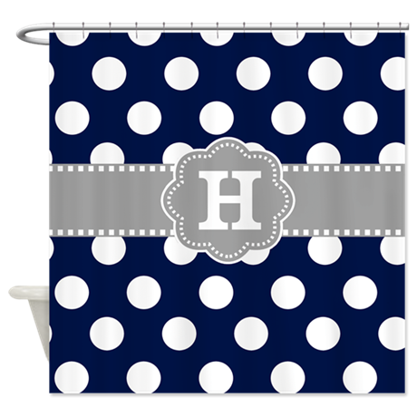 Navy Gray Polka Dots Monogram Shower Curtain By CupcakesandSprinklesBirthdayTees