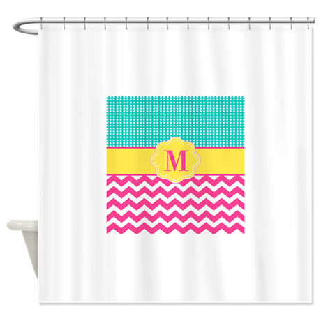 Gt baby bathroom d 233 cor gt pink teal chevron monogram shower curtain