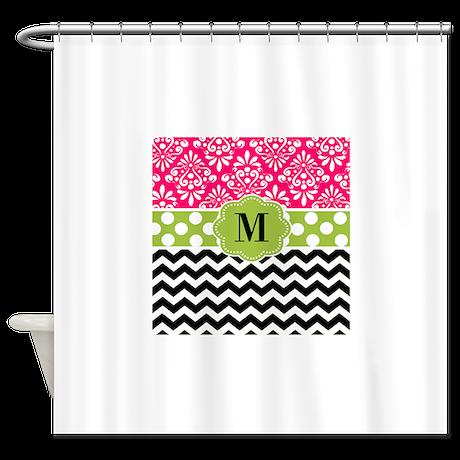 Gt black bathroom d 233 cor gt pink green chevron monogram shower curtain
