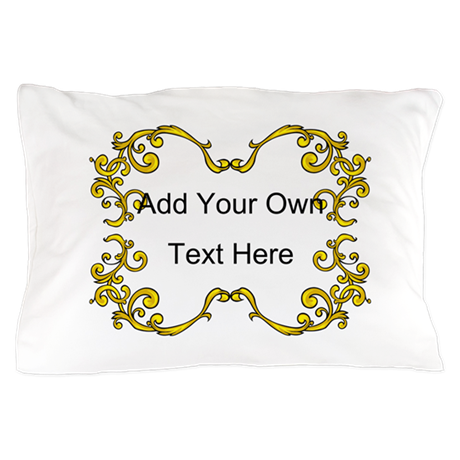 Gold Color Scrolls, Custom Te Pillow Case