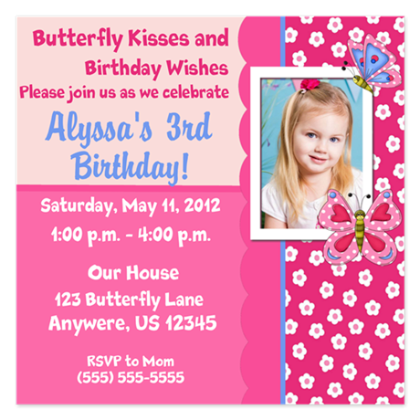Butterfly Pink Invitation 5.25 x 5.25 Flat Cards