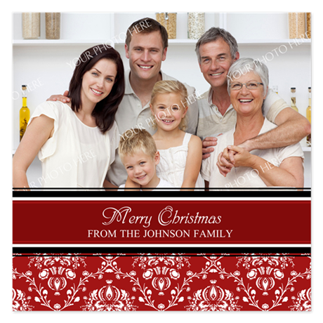 Red Damask Christmas Photo 5.25 x 5.25 Flat Cards
