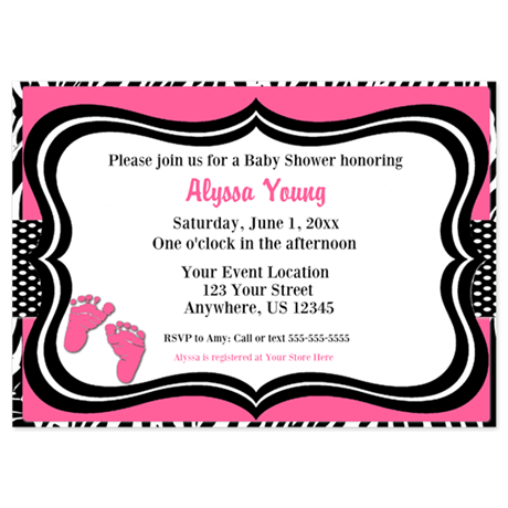 Pink Zebra Baby Feet Shower Invite Invitations