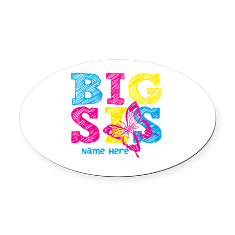 Butterfly Big Sis Oval Car Magnet