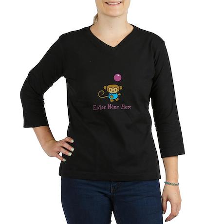 Personalized Monkey 3/4 Sleeve T-shirt (Dark)