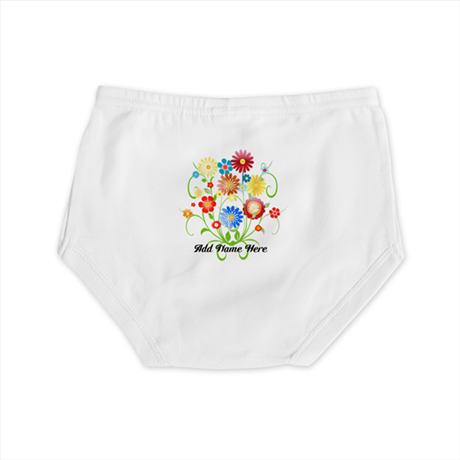 Personalized floral light Diaper Cover