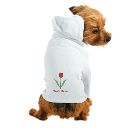 Dark Red Tulip and Text. Dog Hoodie