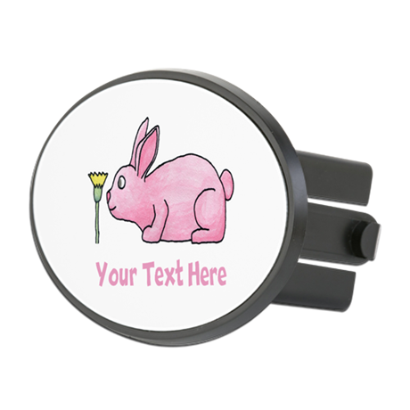 Pink Rabbit, Custom Text. Oval Hitch Cover