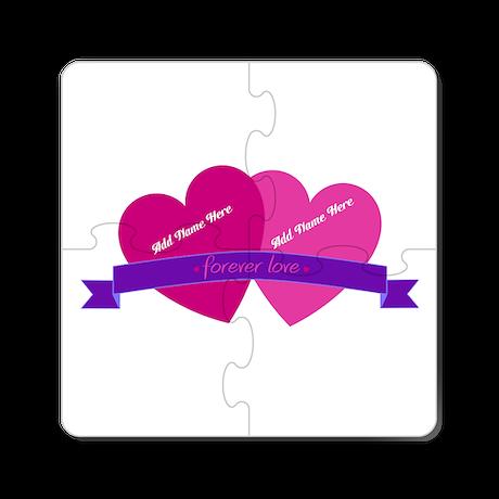 Forever Love Heart Names Cork Coaster
