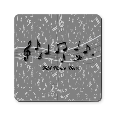 Personalized Grey black musical notes Puzzle Coast