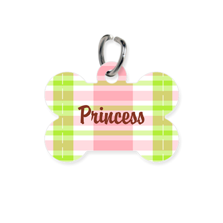 Pink Green Plaid Personalized Bone Pet Tag
