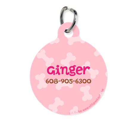 Little Bones Pink Personalized Round Pet Tag