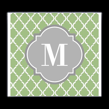 Monogrammed Sage Green Moroccan Trellis Wine Label
