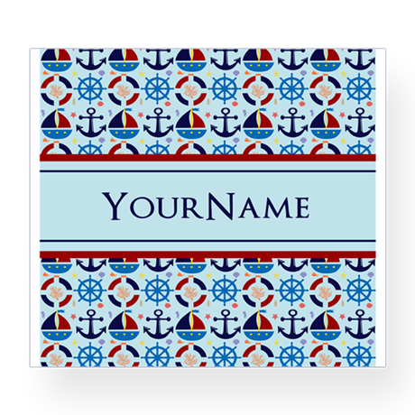 Nautical Stripes Cute Anchor Monogram Wine Label