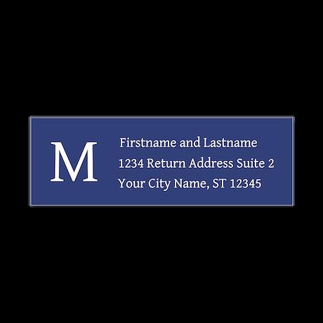 Monogrammed Nave Blue Return Address Labels