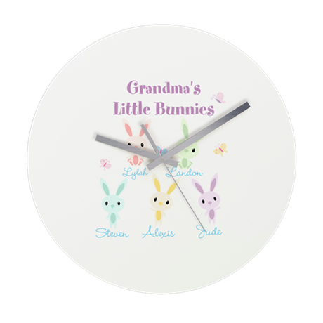 Grandmas little bunnies custom Wall Clock