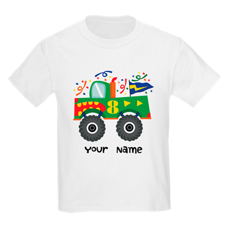8th Birthday Monster Truck Kids Light T-Shirt