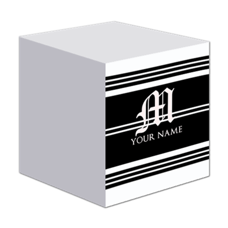 Black and White Stripe Monogram Sticky Notes