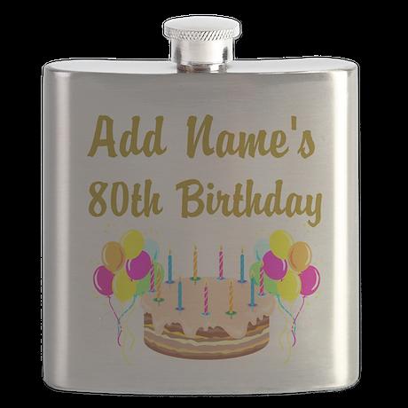 HAPPY 80TH BIRTHDAY Flask