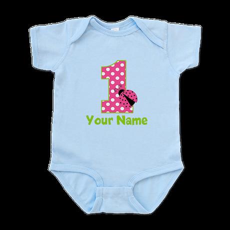 Pink Green Ladybug 1st Birthday Infant Bodysuit